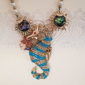 Betsey Johnson seahorse statement necklace